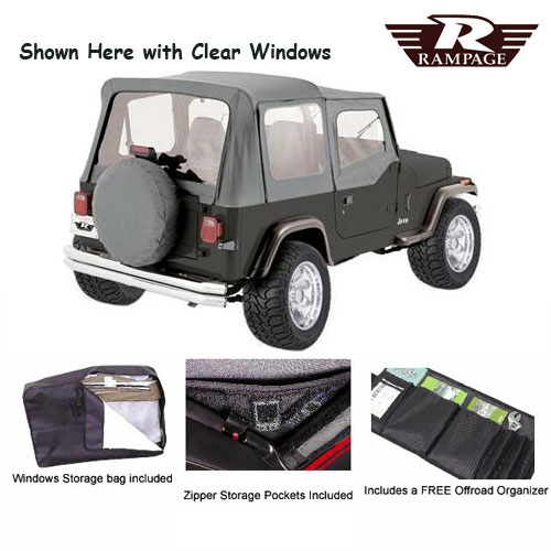Complete Soft Top Tinted Windows and Soft Upper Doors 87-95 Wrangler Gray