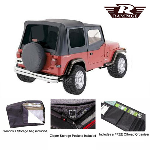 Complete Soft Top Tinted Windows and Soft Upper Doors 87-95 Wrangler Black Denim
