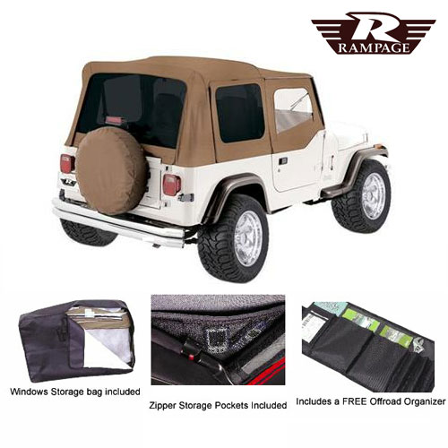 Complete Soft Top Tinted Windows and Soft Upper Doors 87-95 Wrangler Spice