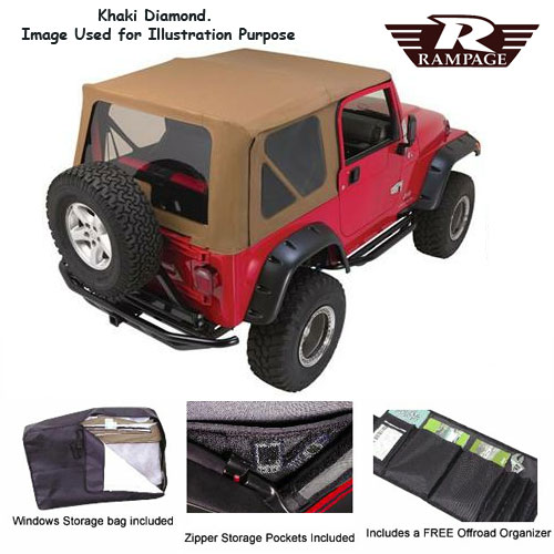 Complete Soft Top Tinted Windows 1997-06 Wrangler, Khaki Diamond