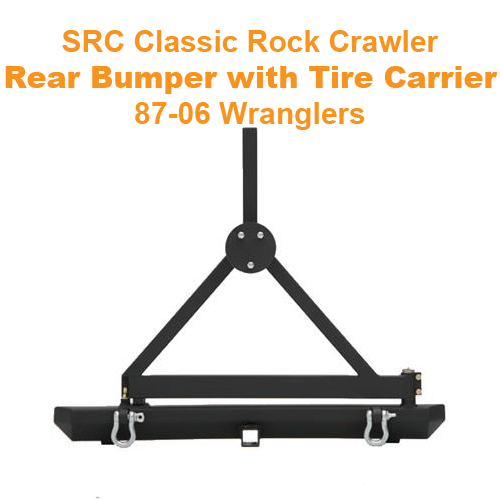 SRC Rock Crawler Rear Bumper with Tire Carrier, 87-06 Wranglers