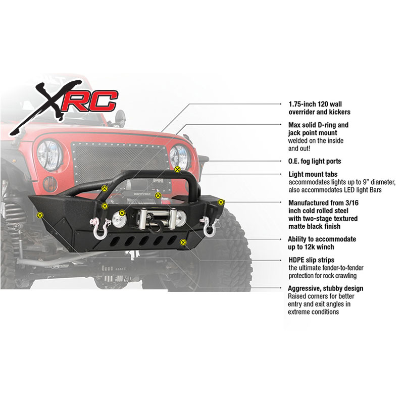 XRC Gen2 Front Bumper with Winch Plate 07-18 Wranglers