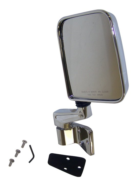 Right Side Mirror and Arm, Chrome, 87-02 Wranglers