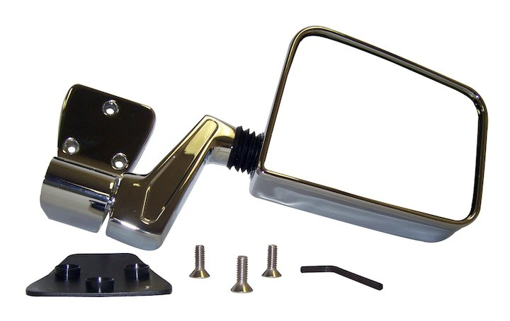 Left Side Mirror and Arm, Chrome, 87-02 Wranglers
