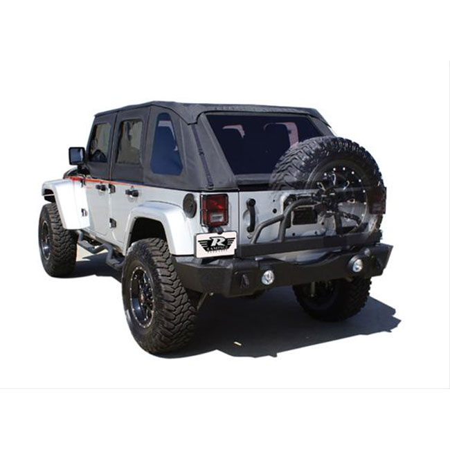 Rear Recovery Bumper with Swing Away Tire Carrier, Semi Gloss Black, 07-15 Wranglers