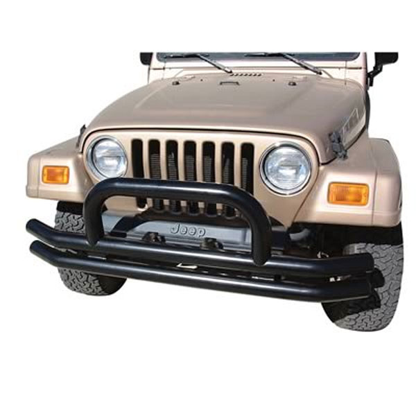 Tube Front Bumper with Hoop, Black, 07-15 Wranglers