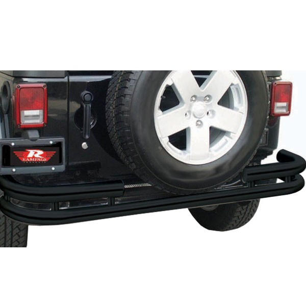 Tube Rear Bumper, Black, 07-15 Wranglers