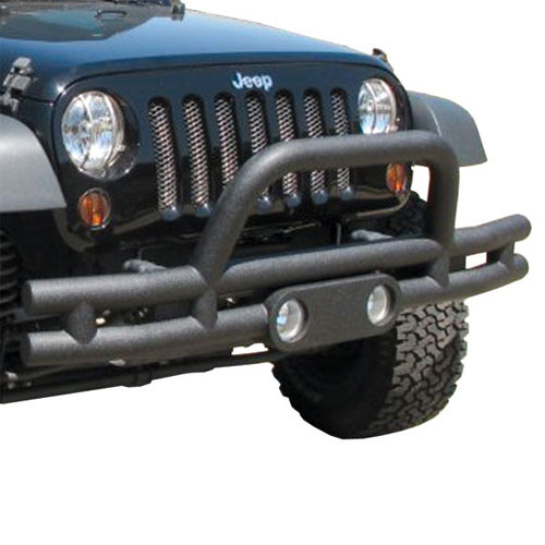 Tube Front Bumper with Hoop, Light Cut Outs, 07-15 Wranglers