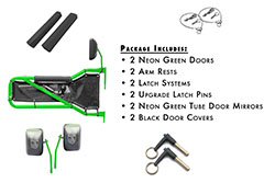 Jeep JK Wrangler Trail Door Kit Neon Green with Black Covers