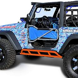 Jeep Wrangler JK 2 Doors Rock Sliders Fluorescent Orange