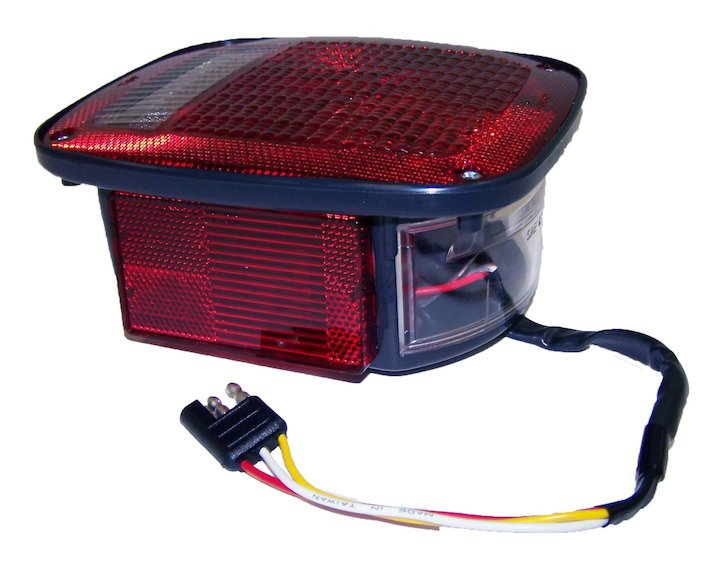 Left Tail Lamp with Side Marker, Black, 81-86 Jeep CJ