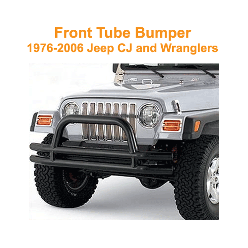 Smittybilt Front Tube Bumper with Hoop 1976-86 Jeep CJ Gloss Black