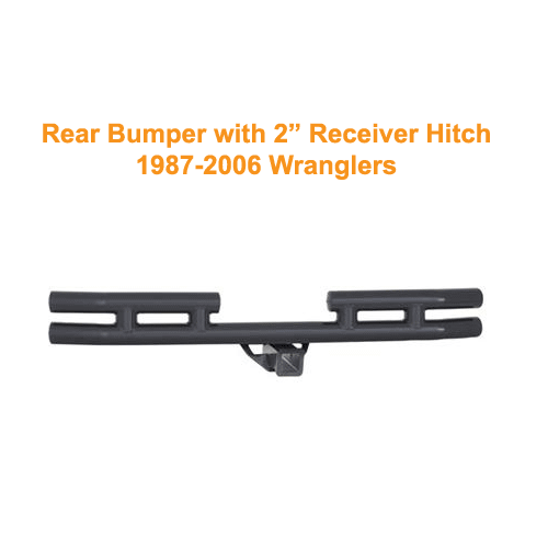 Smittybilt Rear Tubular Bumper with Hitch 87-06 Wranglers Gloss Black