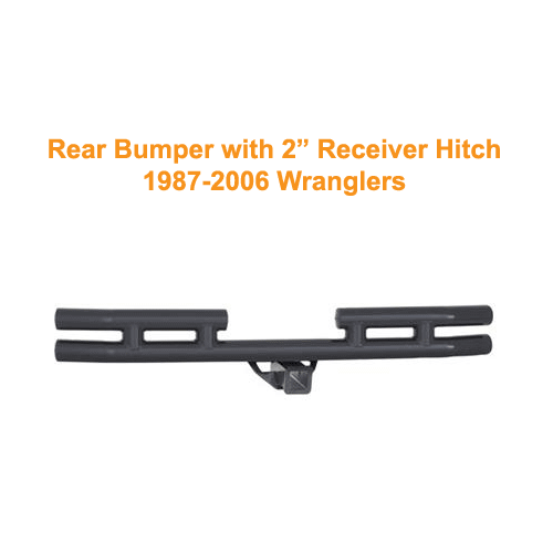 Smittybilt Rear Tubular Bumper with Hitch 87-06 Wranglers Textured Black