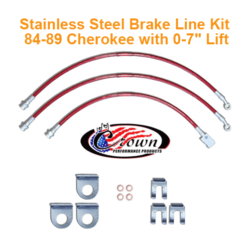 Crown Brake Line Kit 84-89 Cherokee XJ with 0-7