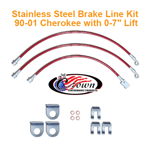 Crown Brake Line Kit 90-01 Cherokee XJ with 0-7