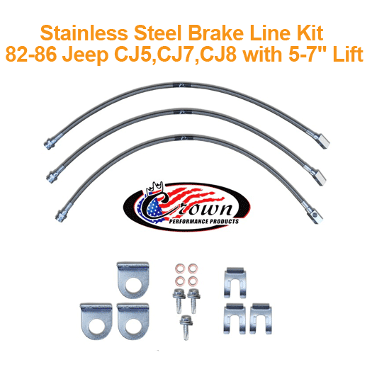 Stainless Steel Brake Line Kit 82-86 Jeep CJ5, CJ7, CJ8 with 0-7