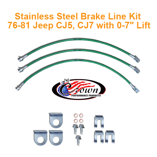 Stainless Steel Brake Line Kit 76-81 Jeep CJ5, CJ7 with 0-7
