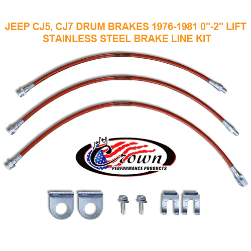 Drum Brake Line Kit 76-81 Jeep CJ5 CJ7 with 0-2