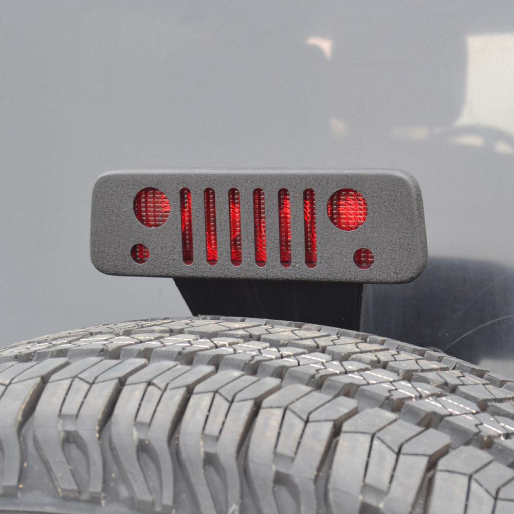 Third Brake Light Guard, Jeep Grille Logo, 07-17 Wrangler