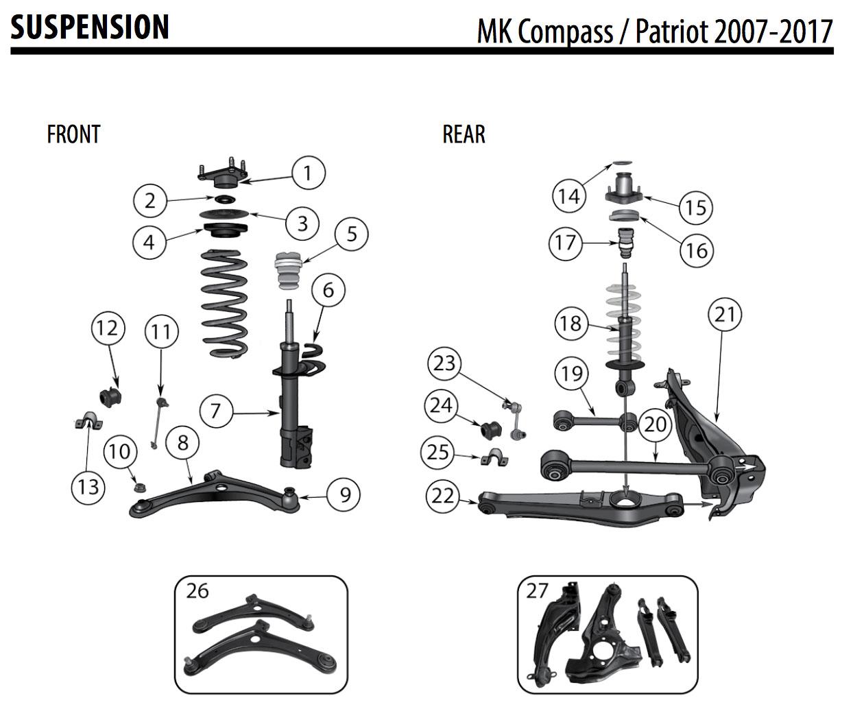 jeep patriot compass control arm front left lower 5105041ac