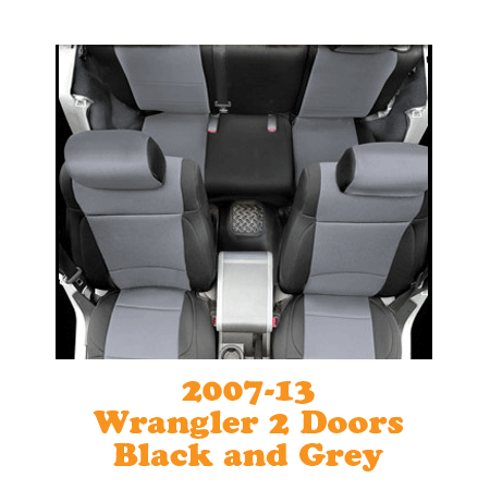 Neoprene Front Seat and Rear Seat Covers 07-13 Wranglers 2 Doors Black/Grey