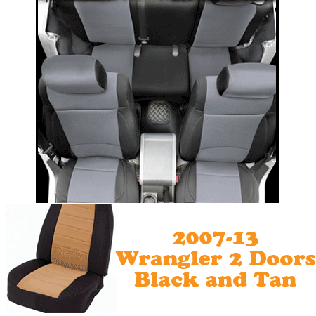 Neoprene Front Seat and Rear Seat Covers 07-13 Wranglers 2 Doors Black/Tan