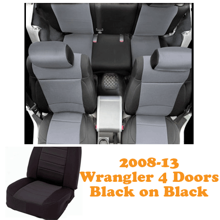 Neoprene Front Seat and Rear Seat Covers 08-13 Wranglers 4 Doors Black