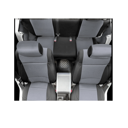 Neoprene Front Seat and Rear Seat Covers 08-13 Wranglers 4 Doors Black/Grey