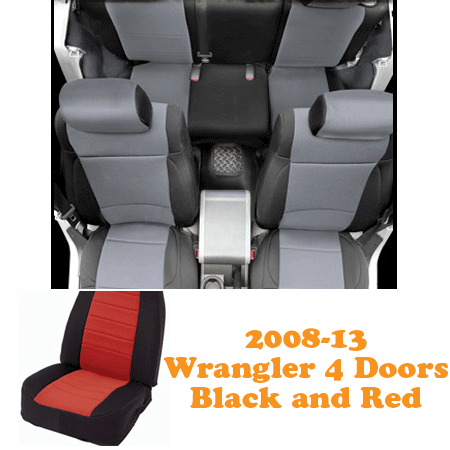 Neoprene Front Seat and Rear Seat Covers 08-13 Wranglers 4 Doors Black/Red