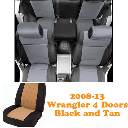 Neoprene Front Seat and Rear Seat Covers 08-13 Wranglers 4 Doors Black/Tan