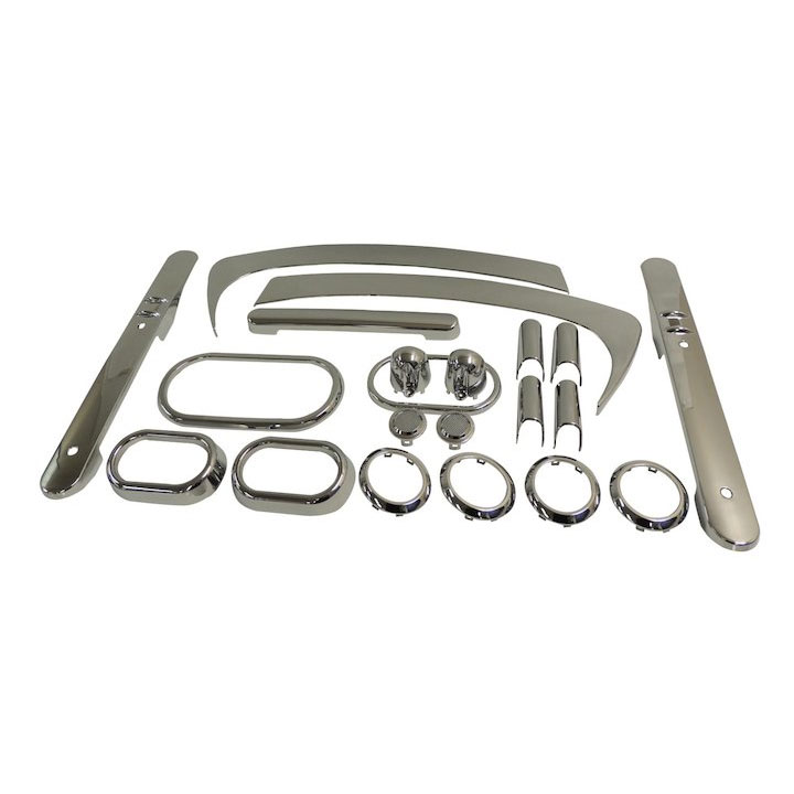 Complete Interior Trim Kit, Chrome, 07-10 Wranglers 2 Doors, Auto Trans