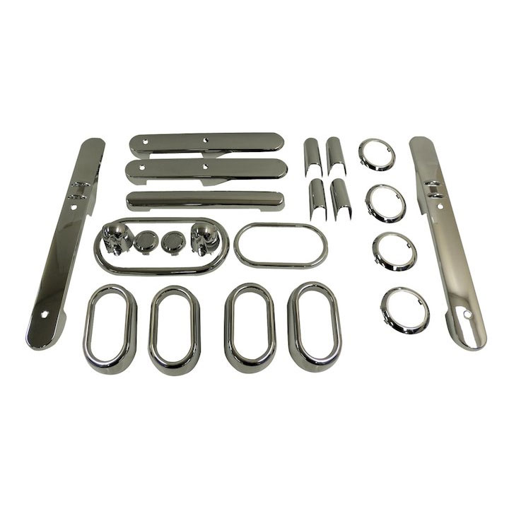 Complete Interior Trim Kit, Chrome, 07-10 Wranglers 4 Doors, Auto Trans