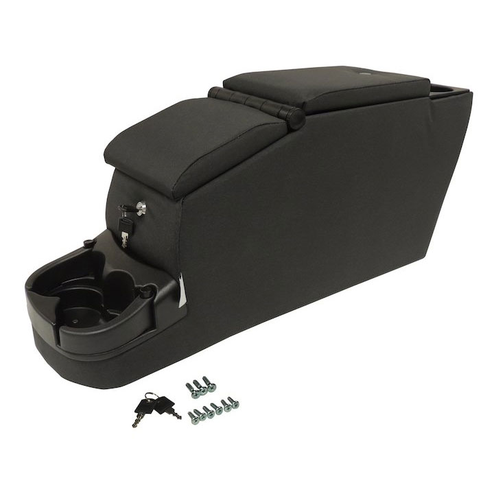 Locking Center Console, Black Denim, 76-86 Jeep CJ7, 87-95 Wranglers