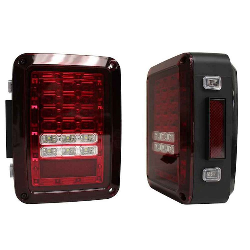 LED Tail Light Set, Red Lens, 07-18 Wranglers JK