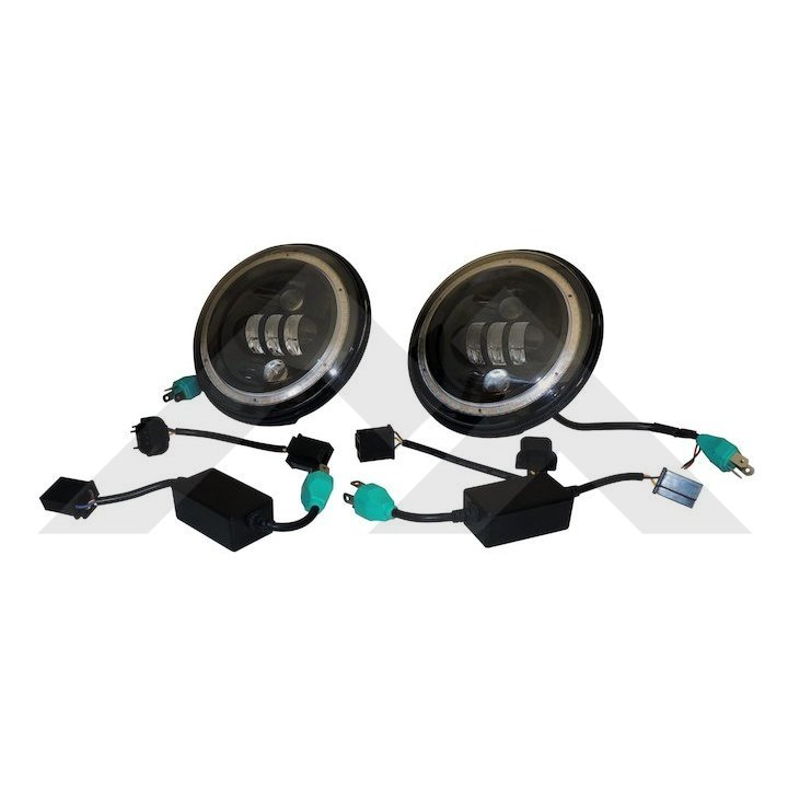 Jeep LED Headlight Set, with Halo Ring, JK TJ CJ