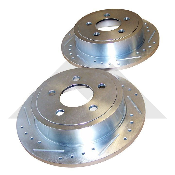 Rear Brake Rotors, Drilled and Slotted, 03-06 Wranglers, 03-07 Liberty