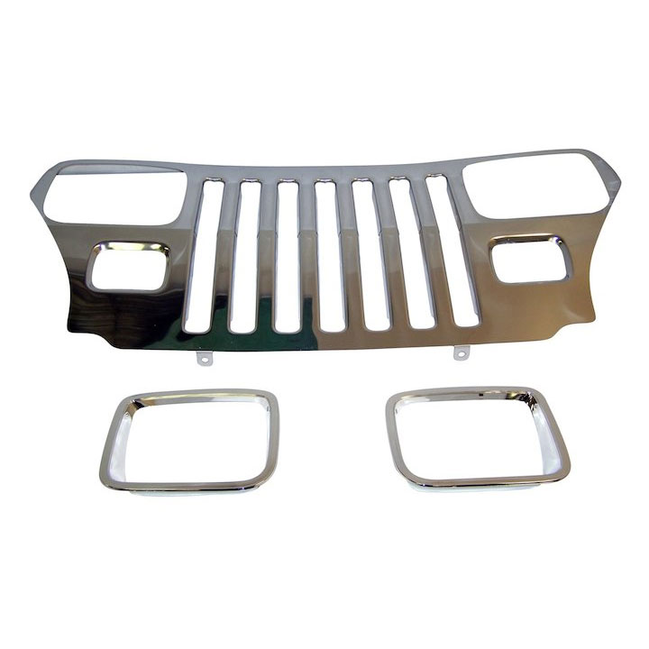 Stainless Steel Grille Overlay with Bezels 87-95 Wranglers