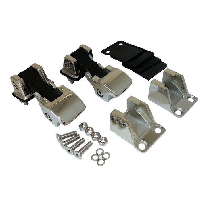 Hood Catch Kit, TJ Style, Stainless, 55-86 Jeep CJ, 87-95 Wranglers