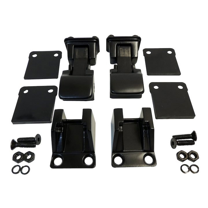 Hood Catch Kit, TJ Style, Black, 55-86 Jeep CJ, 87-95 Wranglers