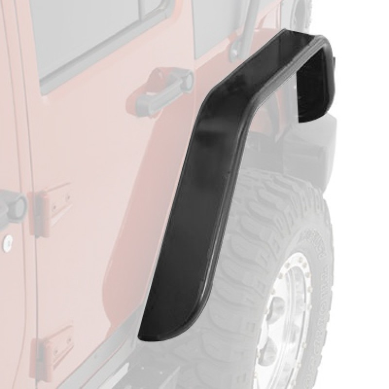 Rear Tube Fender Flares 07-17 Wranglers 2 Dr, Smooth Black