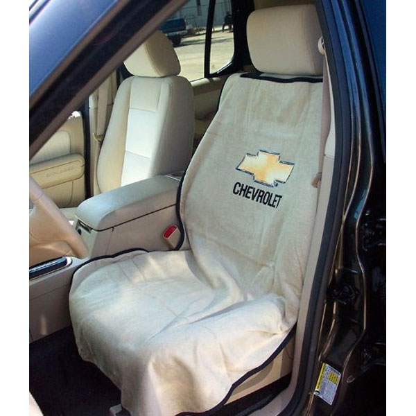 Seat Towel with Chevrolet Logo Tan