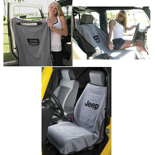 Jeep Seat Towel with Jeep Letter Grey