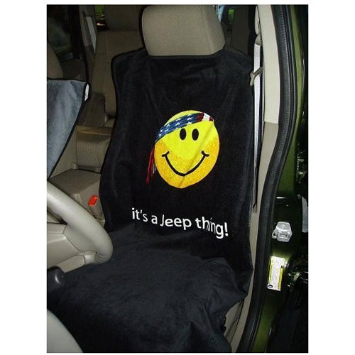 Seat Towel with Smiley Face Black