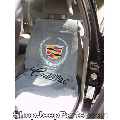 Seat Towel with Cadillac Logo Grey
