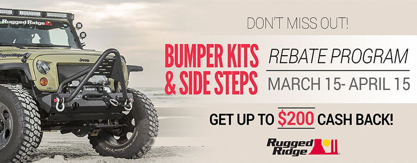 Get Up To $200 Mail-In Rebate on Select Jeep Bumpers & Side Bars