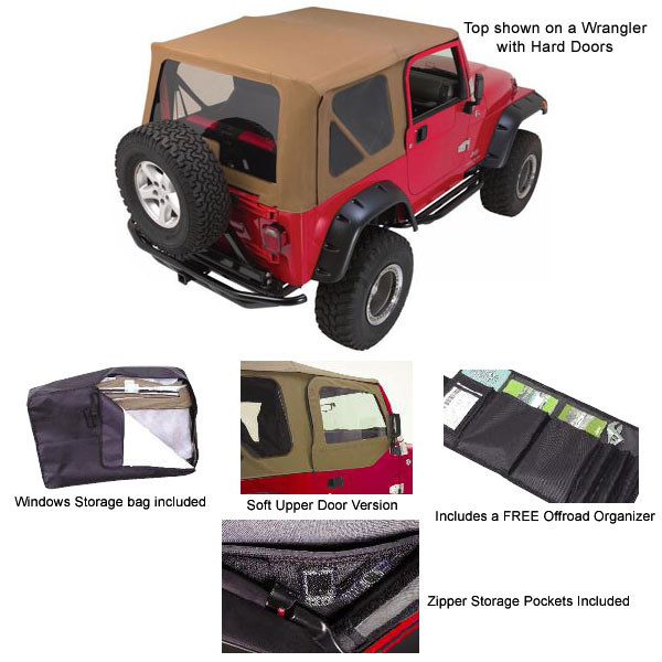 Complete Soft Top Tinted Windows 1997-06 Wrangler, Spice Denim