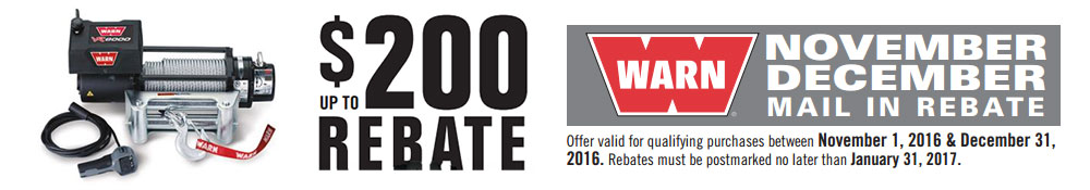 Warn Winches Rebate Offer